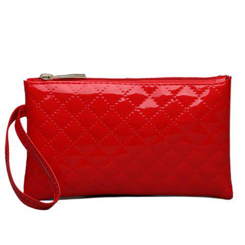 Patent Leather Rhombic Stitching Wristlet - RED