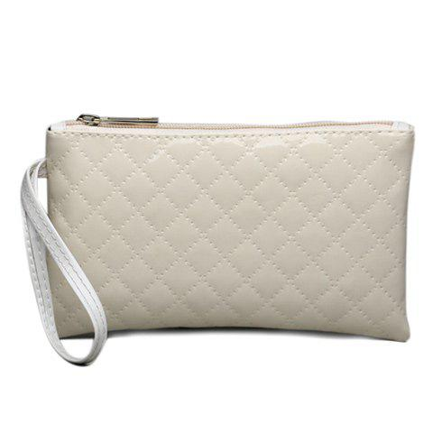 Patent Leather Rhombic Stitching Wristlet - OFF WHITE