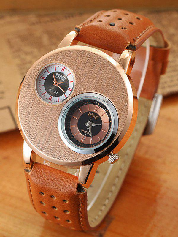 Big Case Double Dial Analog WatchWatches<br><br><br>Color: BROWN