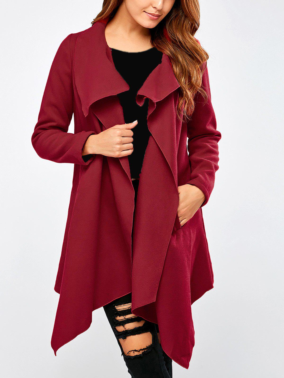 Convertible Asymmetric Draped CoatWomen<br><br><br>Size: M<br>Color: DEEP RED