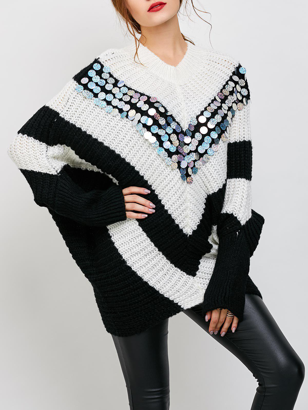 Sequins Oversized Batwing Poncho Sweater - WHITE ONE SIZE