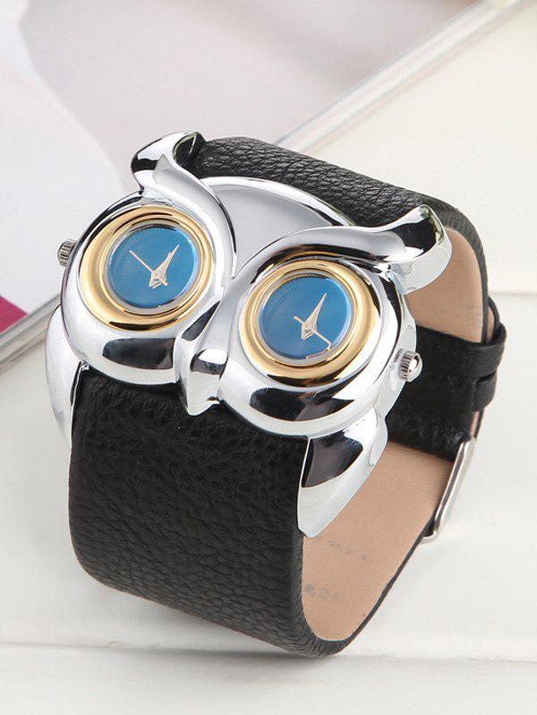 Waterproof Owl Irregular Double Dial Watch - BLACK