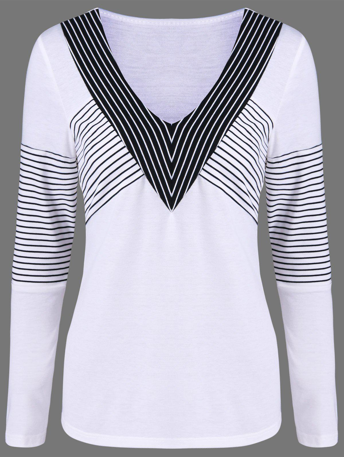Long Sleeves Striped T-ShirtWomen<br><br><br>Size: M<br>Color: WHITE