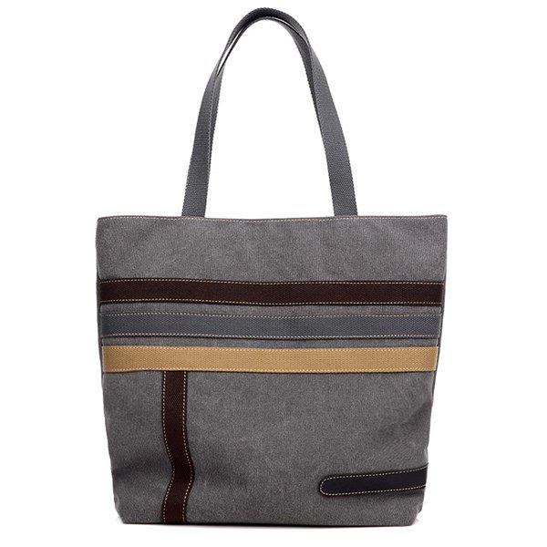Casual Canvas Stripes Shoulder Bag - GRAY