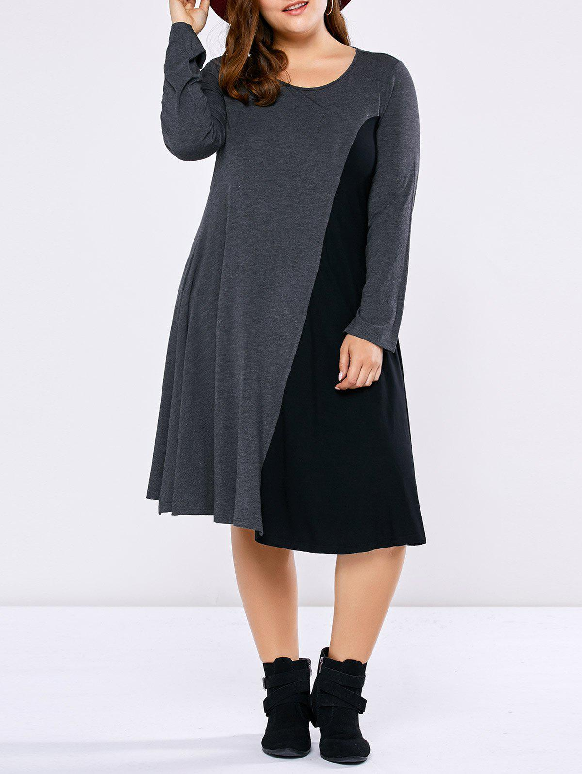 Plus Size Long Sleeve Two Tone Casual Dress платье wisell wisell mp002xw13l2t