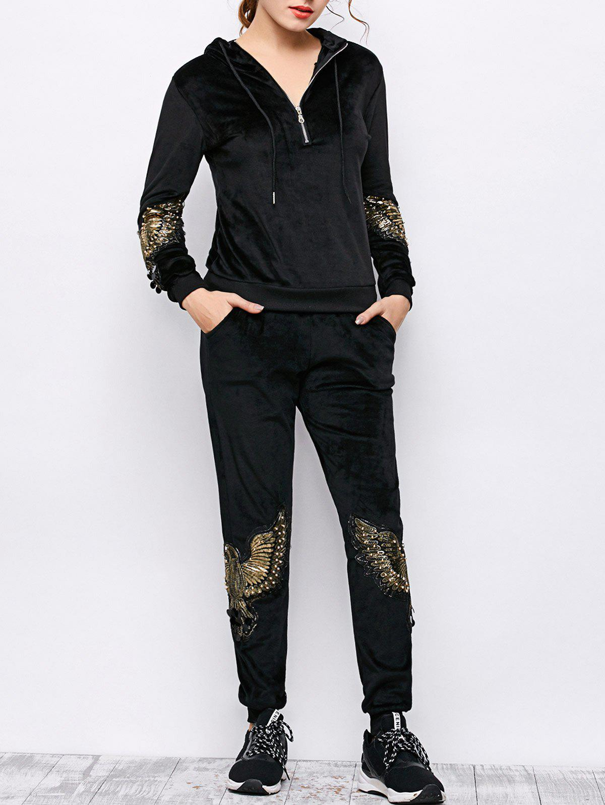 Hooded Embroidered Velvet Hoodie and Sweatpants