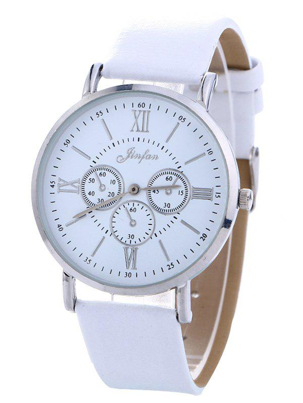 Faux Leather Roman numeral Analog Quartz Watch - WHITE