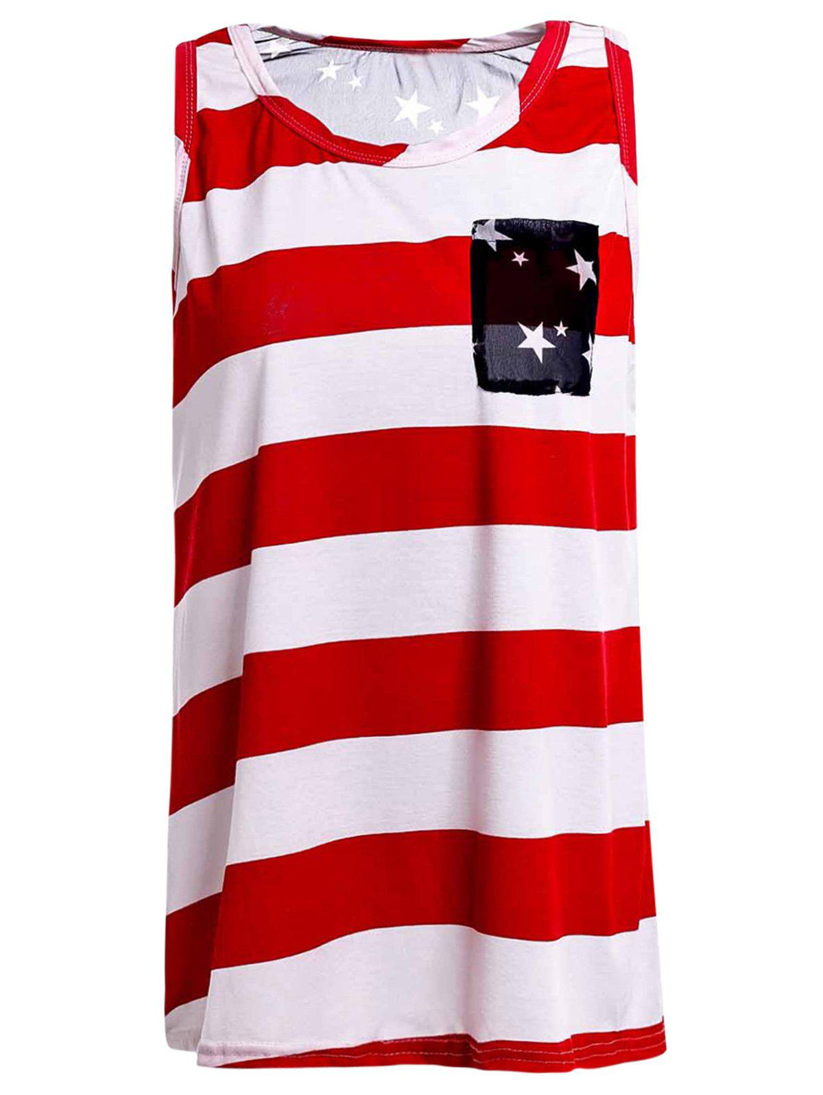 Stylish Scoop Collar Striped High-Low Hem Star Print Women's Tank Top
