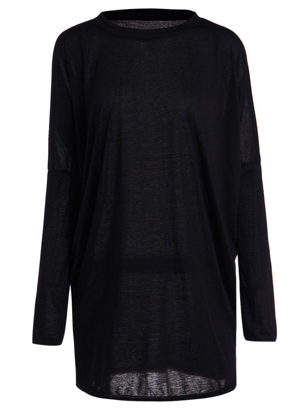 Casual Pleated Batwing Sleeve Pure Color T-Shirt For Women - M BLACK