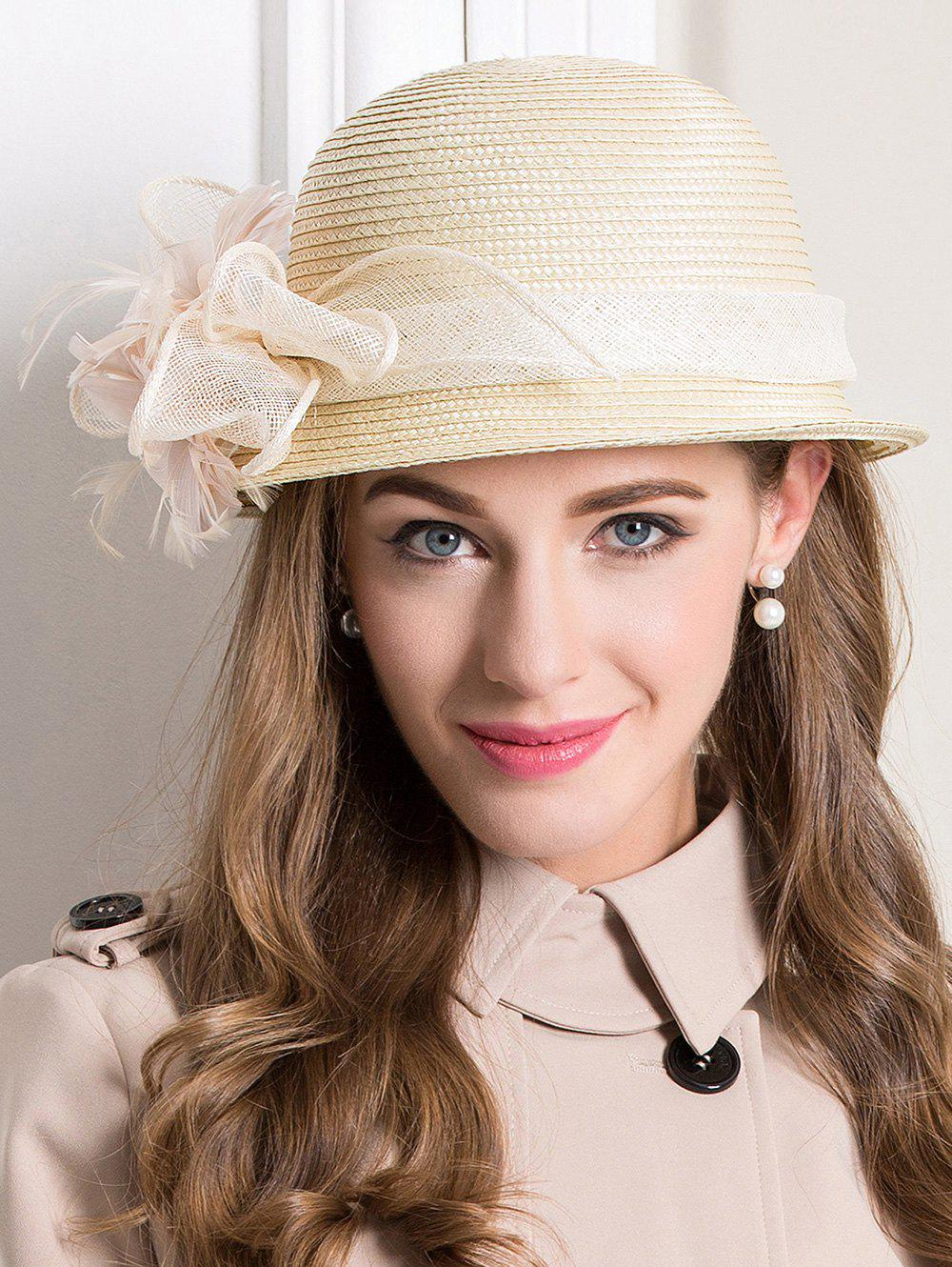 Straw Hat with Feather Flax BandAccessories<br><br><br>Color: BEIGE