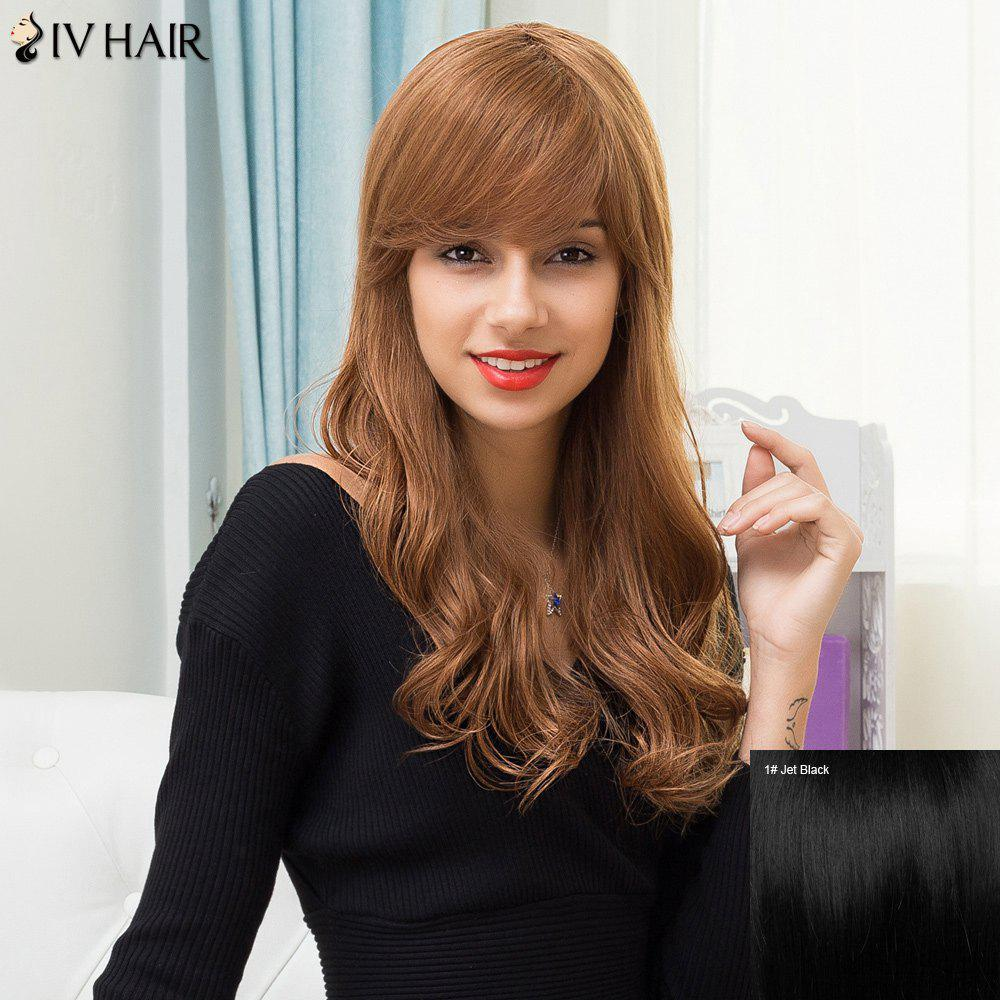 Siv Hair Long Inclined Bang Wavy Fluffy Human Hair WigHair<br><br><br>Color: JET BLACK 01#