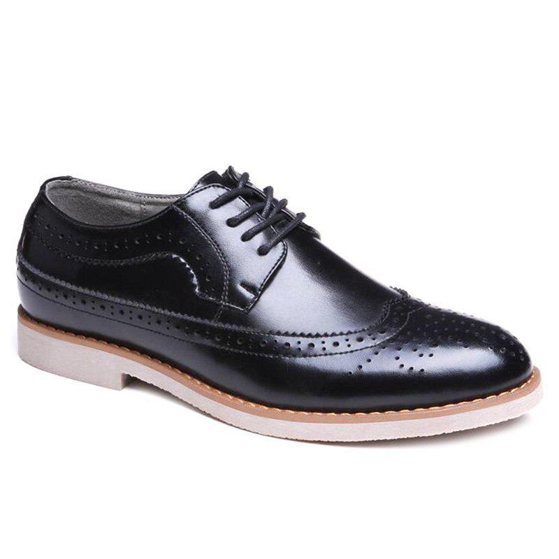Tie Up Wingtip Formal Shoes - BLACK 43