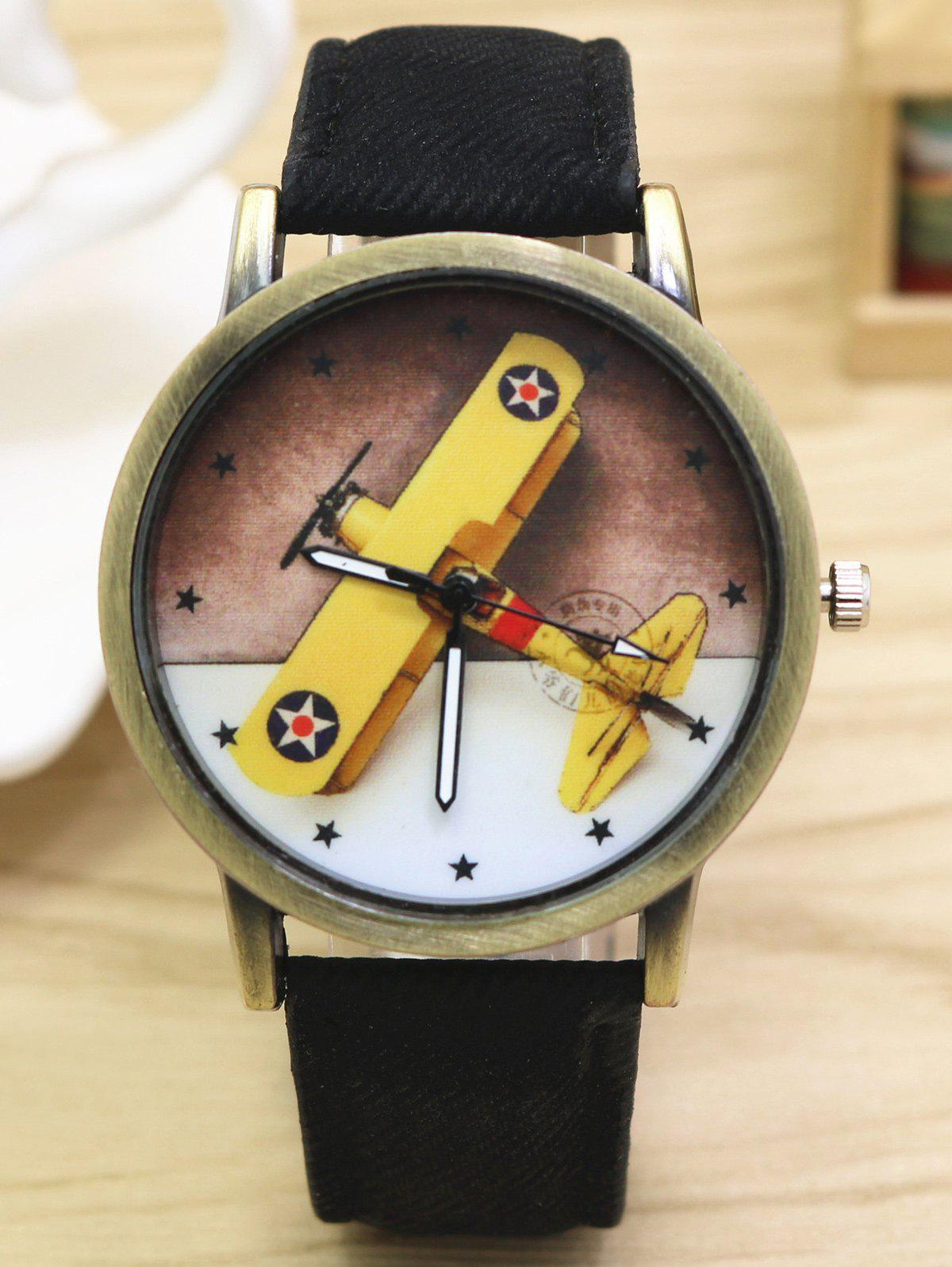 Cartoon Airplane Faux Leather Quartz Watch - BLACK