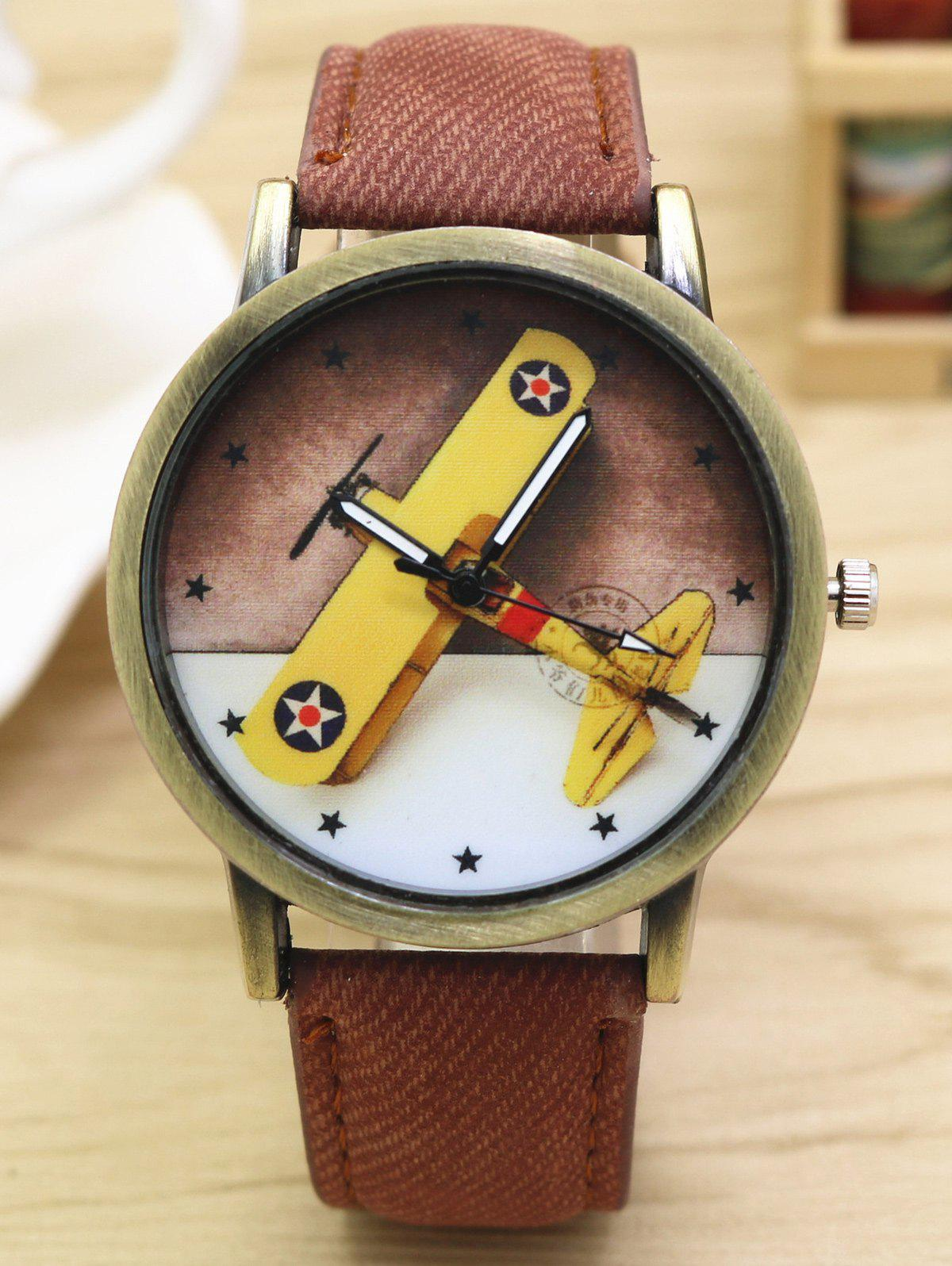 Cartoon Airplane Faux Leather Quartz Watch - COFFEE
