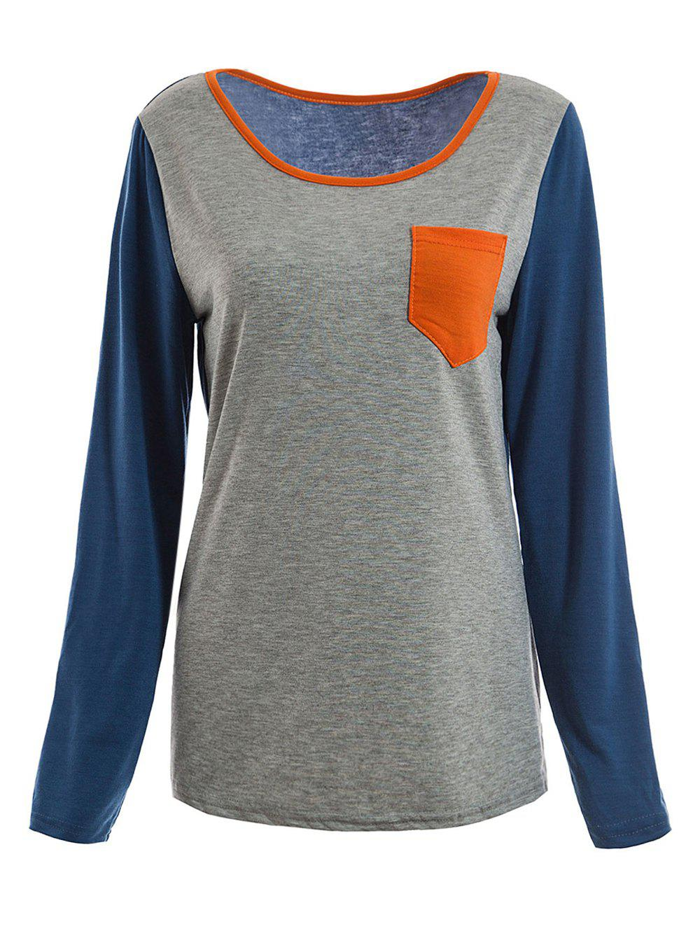Women's Casual Colormatching Long Sleeved T-Shirt With Pocket - GRAY M