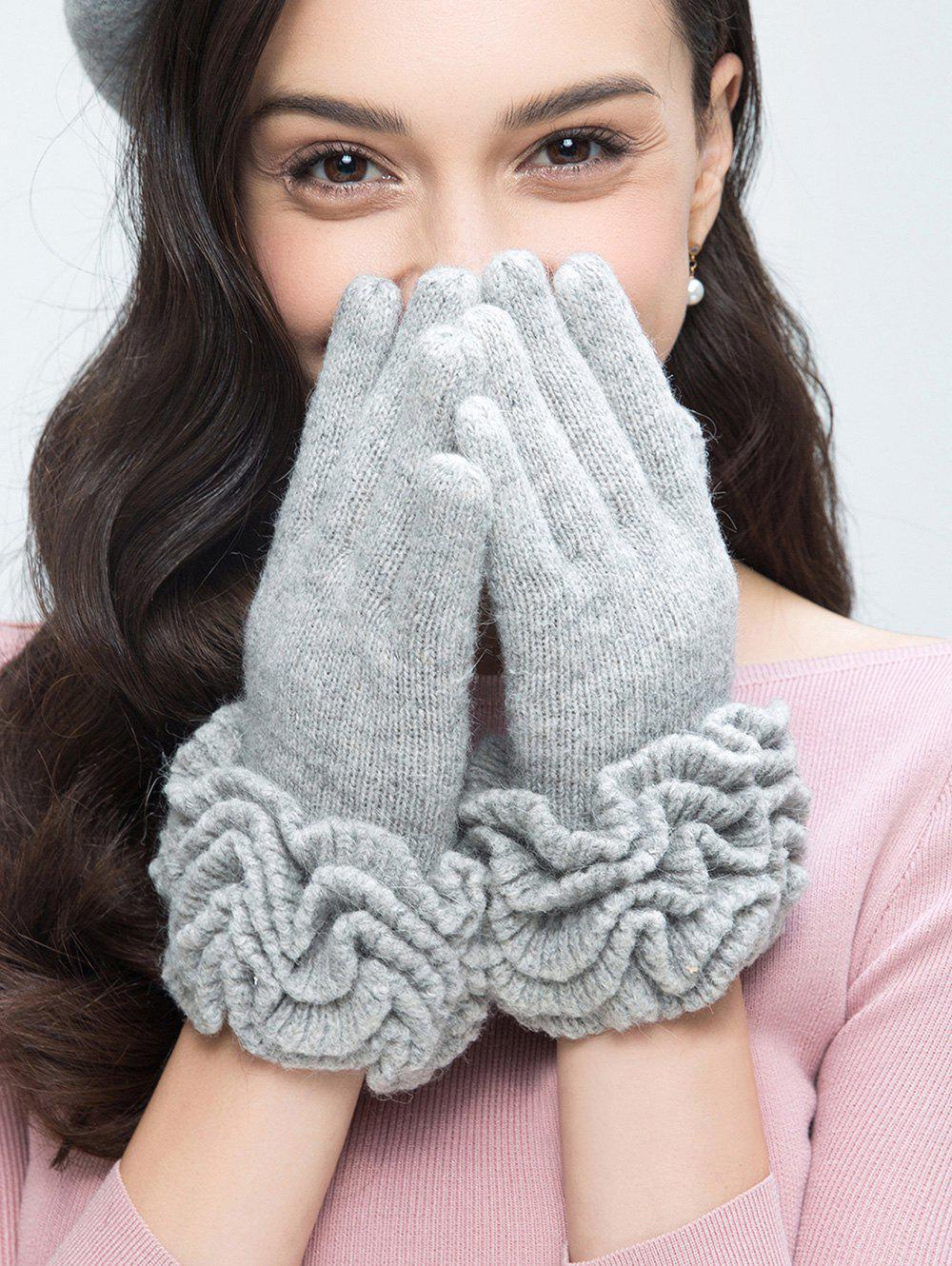 Wool Gloves with Flouncing - LIGHT GRAY