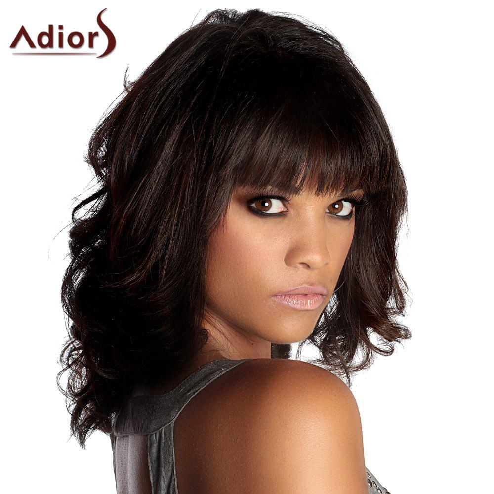 Adiors Neat Bang Medium Fluffy Wavy Synthetic Wig - BLACK