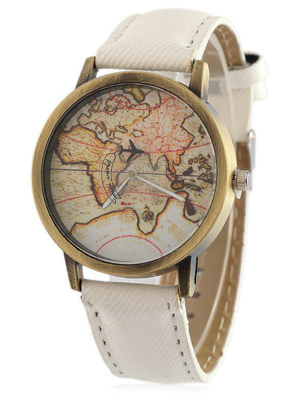 Faux Leather World Map Quartz Watch - WHITE
