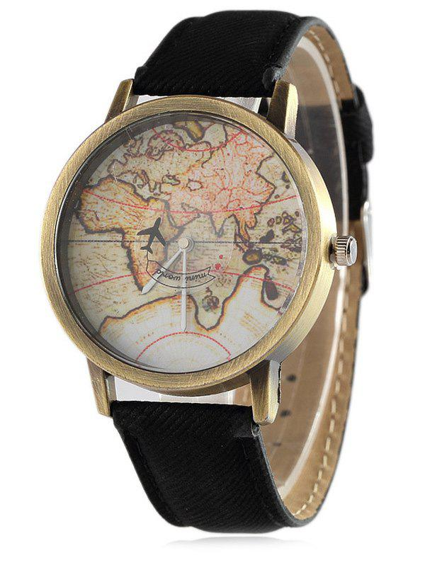Faux Leather World Map Quartz Watch - BLACK