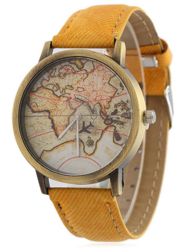 Faux Leather World Map Quartz Watch - YELLOW