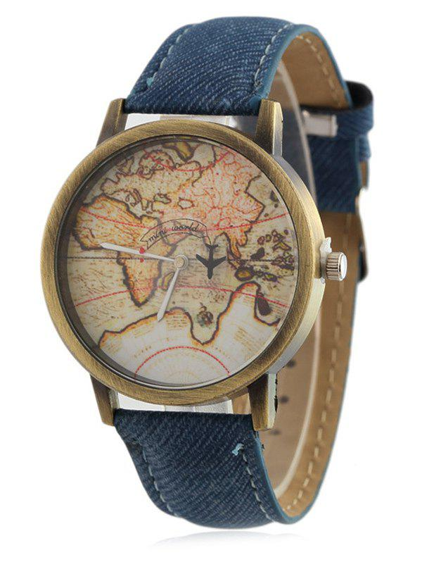Faux Leather World Map Quartz Watch - BLUE