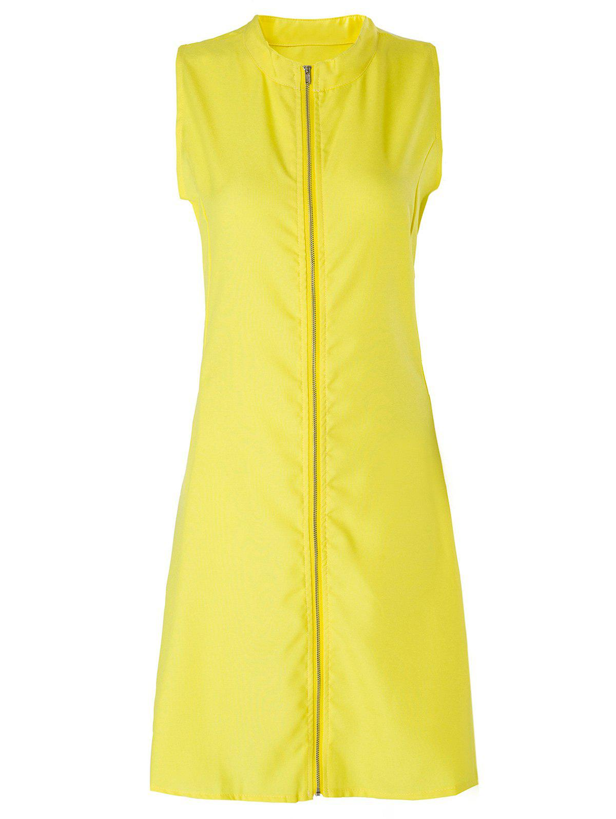 Stylish Stand Collar Solid Color Plus Size Zipper Design Sleeveless Women's Dress - YELLOW XL
