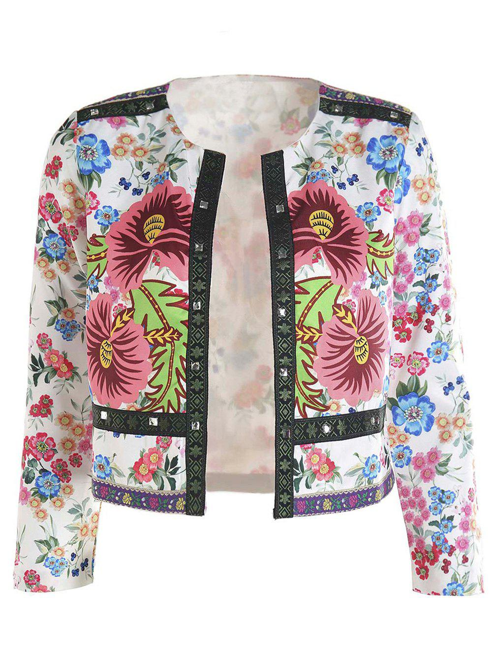 Retro Style Women's 3/4 Sleeves Floral Print Jacket - PINK XL