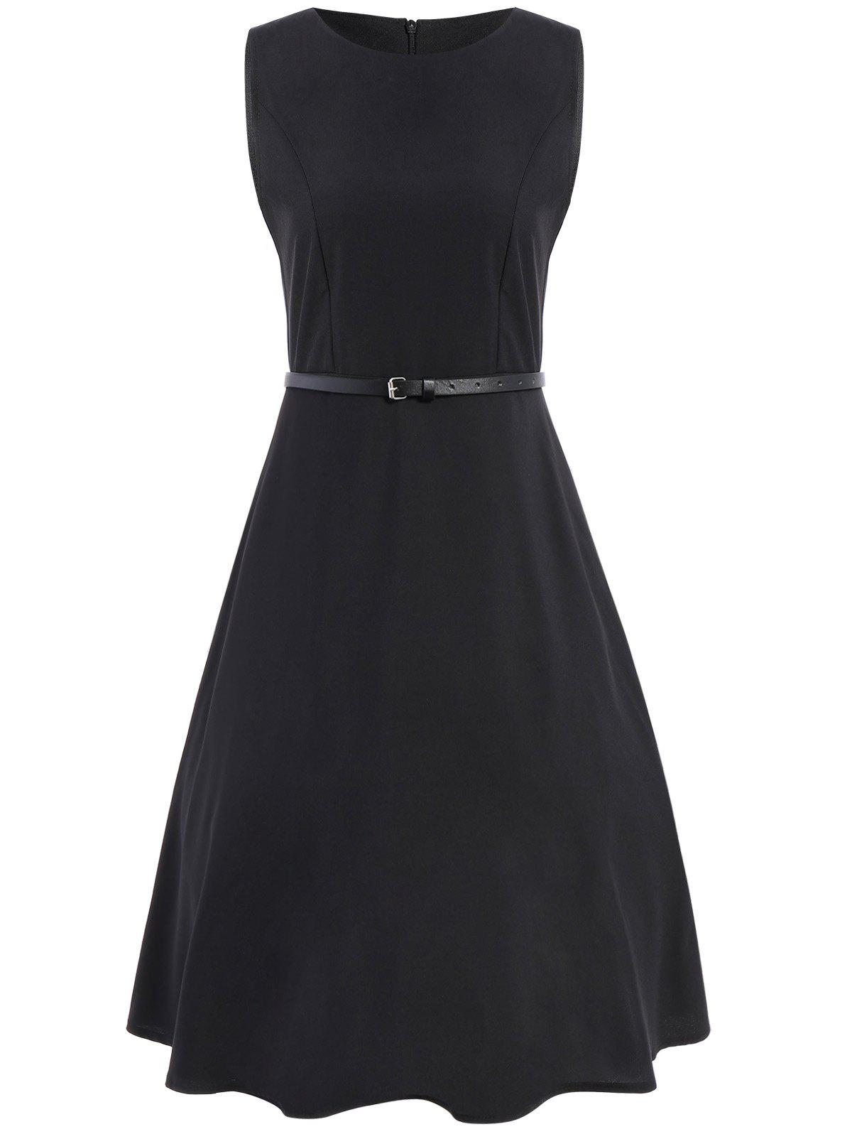 Sleeveless Midi Swing Dress With BeltWomen<br><br><br>Size: 2XL<br>Color: BLACK