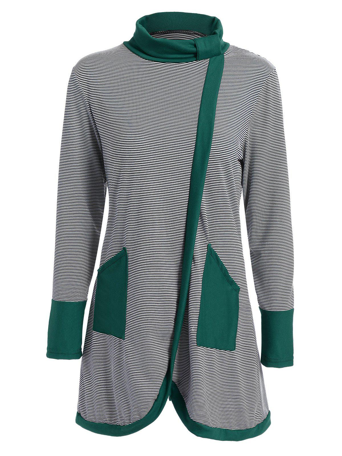 Striped Contrast Panel Asymmetrical Tee - GREEN M