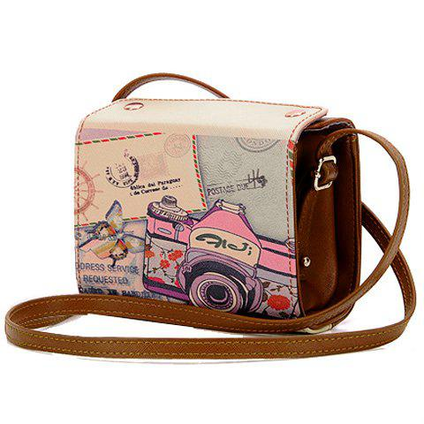 Sweet Camera Print and PU Leather Design Crossbody Bag For Women - BROWN