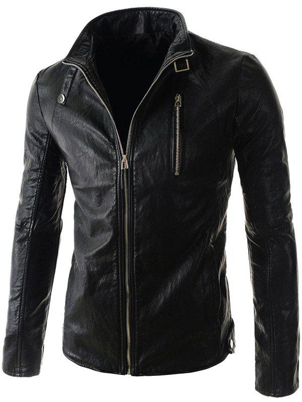 Belt Embellished Stand Collar PU-Leather Zipper Long Sleeve Men's Jacket 184854101
