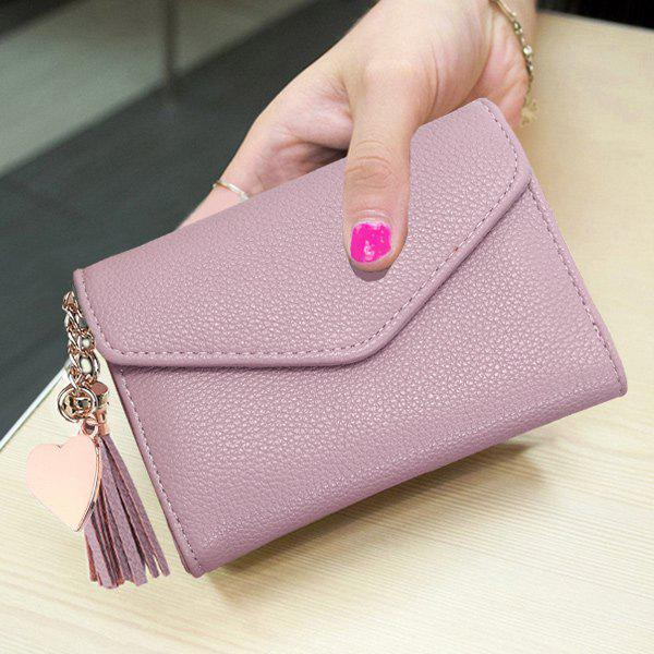 Pendant Textured Envelope Small Wallet - PINK