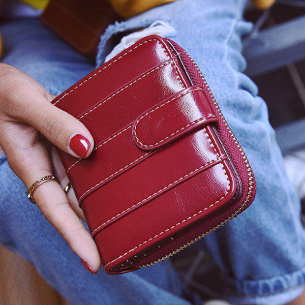 Bi Fold Stitching Faux Leather Small Wallet - WINE RED