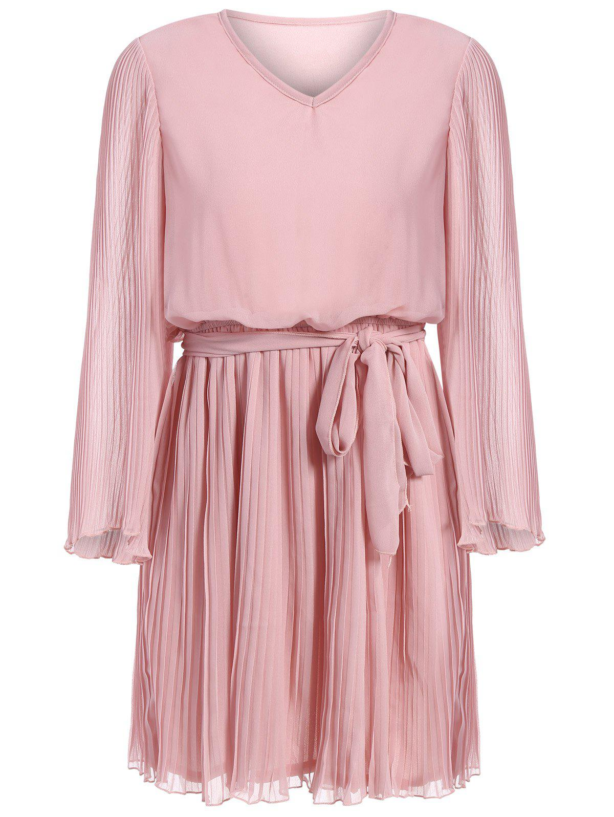 Long Sleeve Chiffon Pleated Dress - PINK L