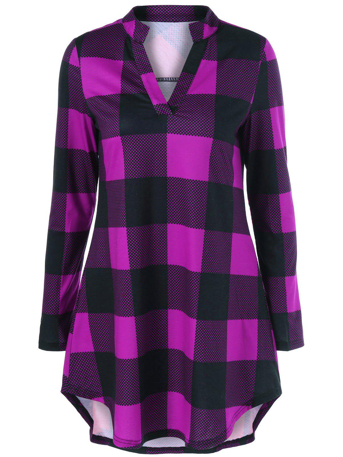 Split Neck Long Plaid Boyfriend T-Shirt split