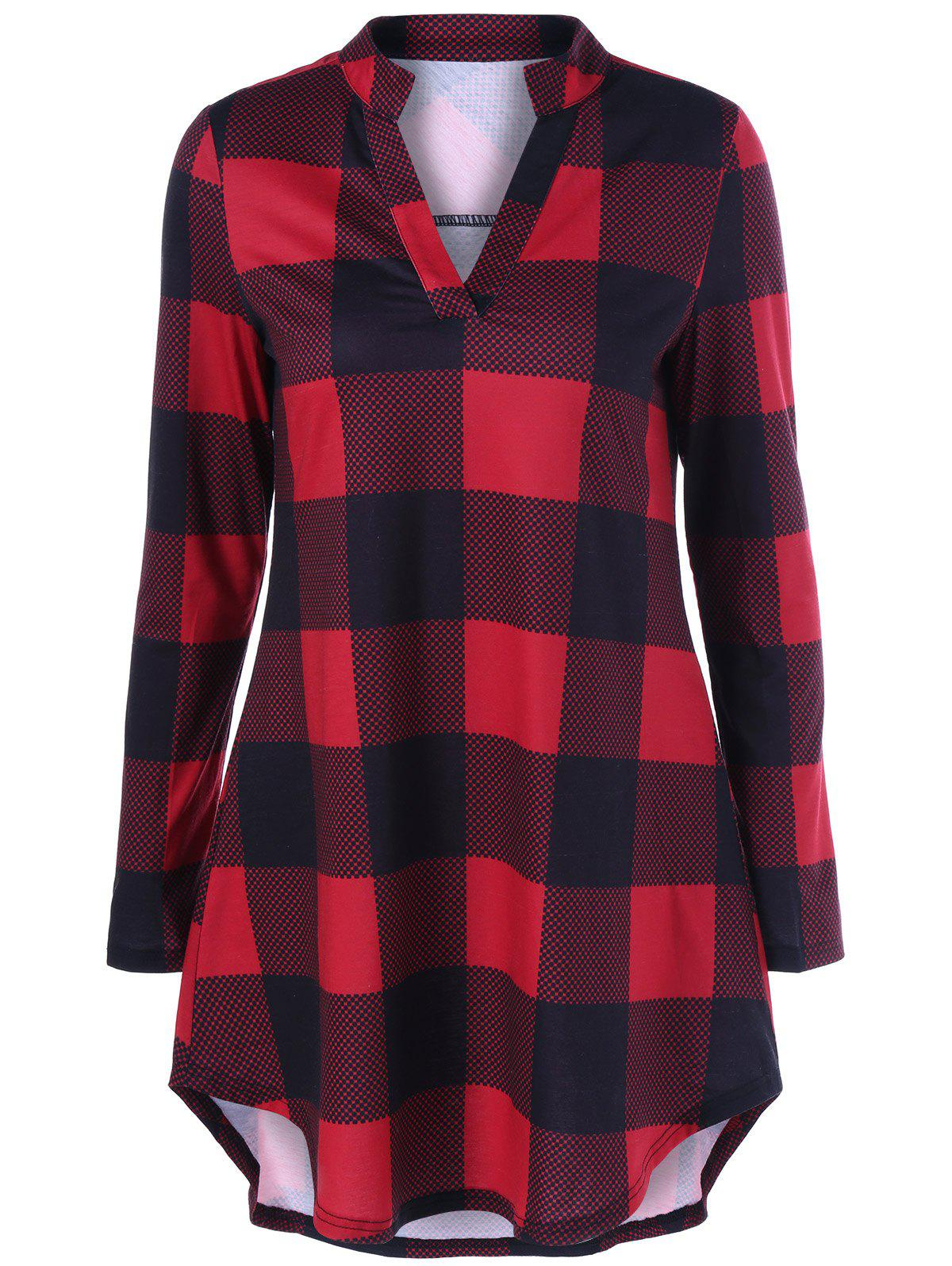 Split Neck Long Plaid Boyfriend T-Shirt - RED/BLACK 2XL