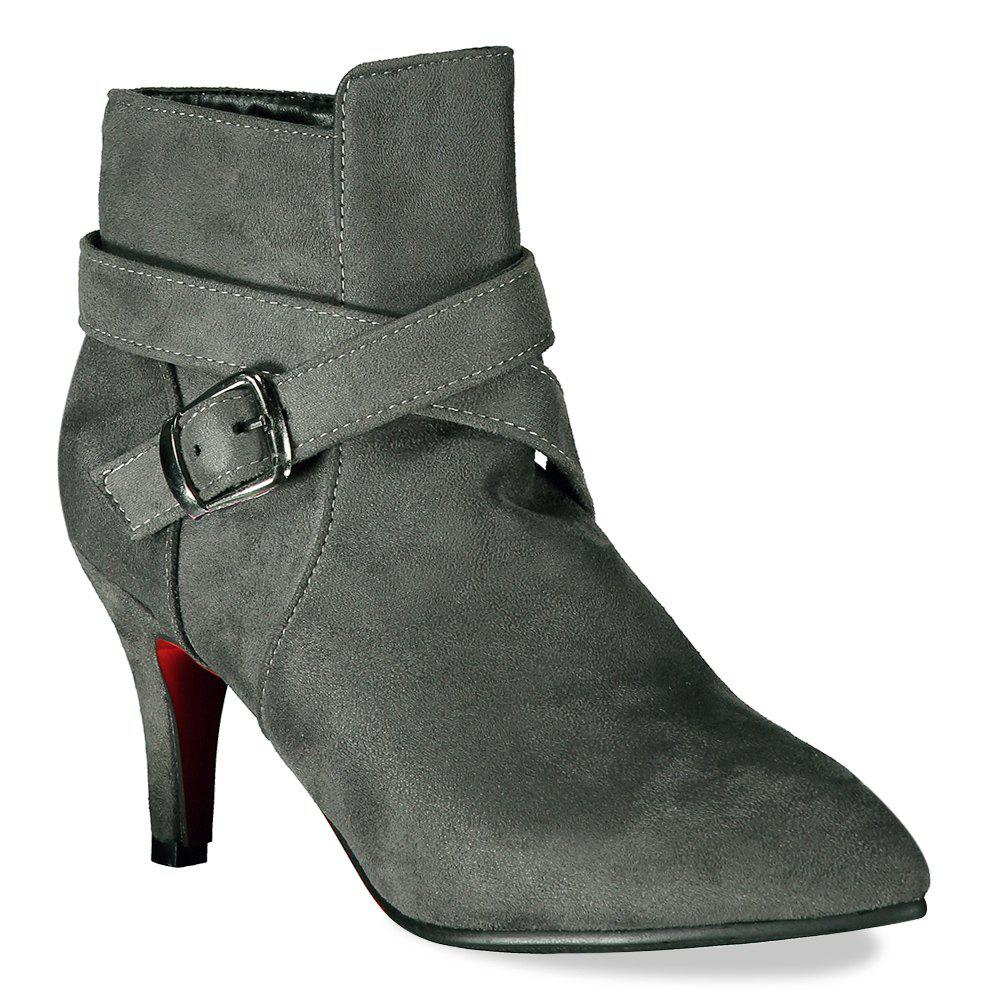 Buckle Side Zipper Point Toe Suede Ankle Boots - GRAY 37