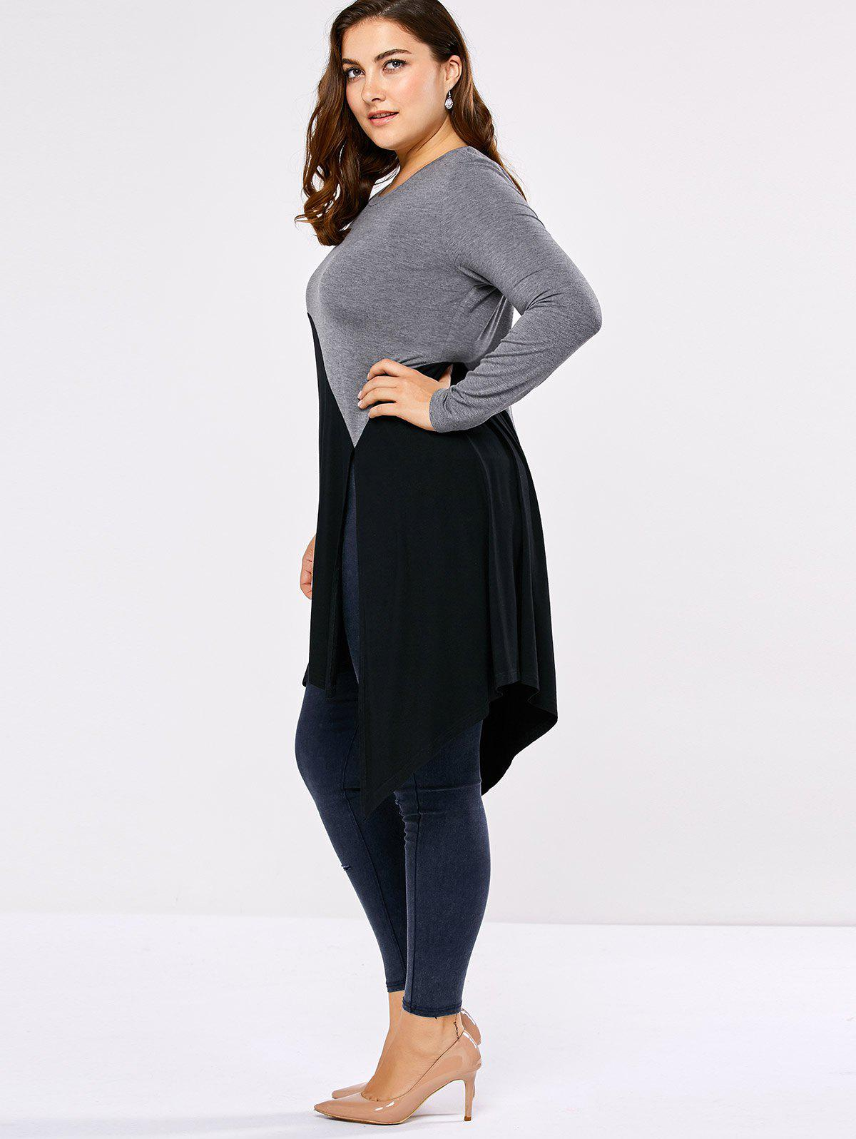 Plus Size Side Slit Asymmetric T-Shirt - BLACK/GREY 2XL
