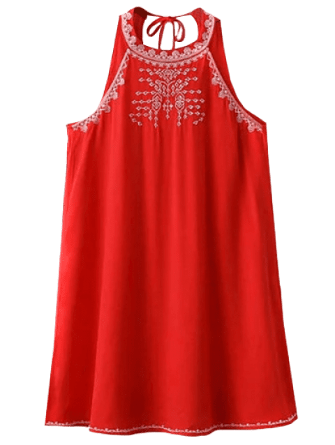 Cut Back Sleeveless Halter Embroidered Dress - RED S