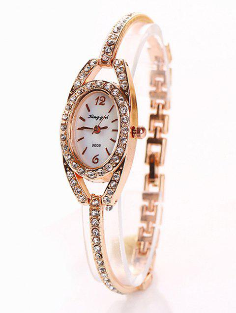 Rhinestone Inlay Alloy Bracelet Oval Watch - ROSE GOLD