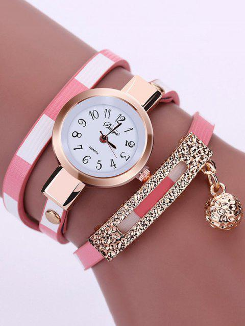 Tinkle Bell Pendant Numerals Bracelet Wrap Watch - PINK