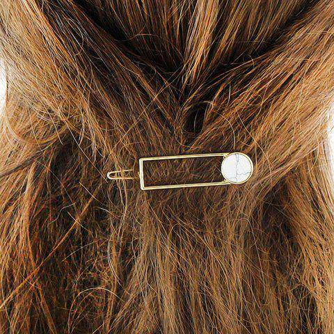 Faux Gem Hollow Out Rectangle Hairpin - WHITE