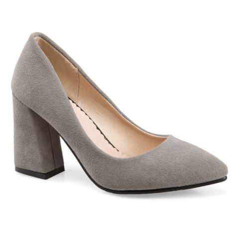 Chunky Heel Suede Pumps - GRAY 39