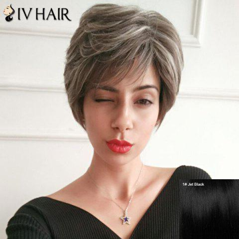 Siv Hair Short Layered Colormix Silky Straight Human Hair Wig - JET BLACK 01