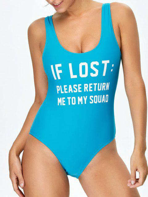 2da8f4a624 41% OFF] 2019 If Lost Letter Unlined One Piece Swimsuit In BLUE ...