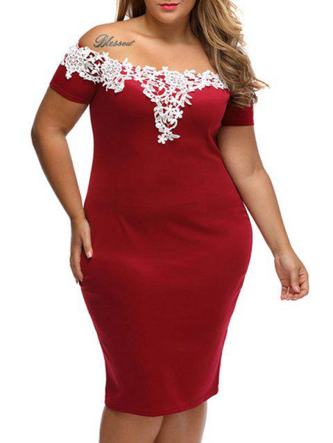 4ef6cdc7025 Plus Size Lace Panel Bandage Off The Shoulder Sheath Party Dress - RED XL