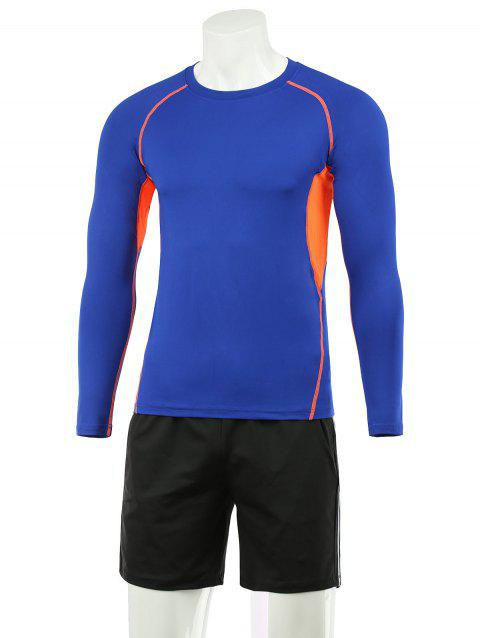 Active Color Block Tee and Shorts Twinset - BLUE L