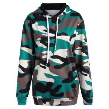 Plus Size Camouflage Print Pullover Hoodie