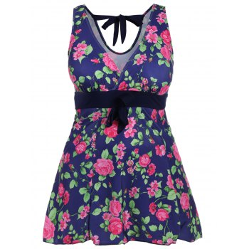 Retro Style Women's V-Neck Rose Print Swimsuit