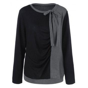 Plus Size Tie Neck Two Tone Sweatshirt